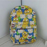Wholesale 2016 Hot Fashion Harajuku Emoji Poached Egg Backpack Anime Adventure Time Preppy Canvas School Bag Totoro Women Travel Shoulder Bag mochila