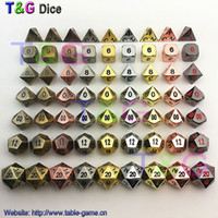 Wholesale 2016 Hot Metal Dice Dice set d4 d6 d8 d10 d d12 d20 for Board Games Rpg Dados jogos dnd with boxes for gift