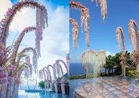 artificial garden - DHL Free Romantic Artificial Flowers Simulation Wisteria Color Vine Wedding Decorative Long Silk Plant Bouquet Garden Bridal Accessories