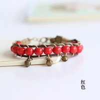 Wholesale Good luck hand woven ceramic beads couple bracelets with bells national wind bracelet