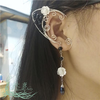beads on wire - Original Handmade Vintage Earrings Silver Plated Copper Wire Clip Earrings with crystal or pearl beads Price for pc not pair