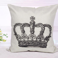 Wholesale 1pc Crown Pattern Pillow Cover Linen Cushion Covers Pillowcase For Home Sofas Cars Deocration
