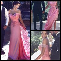 arabic candy - 2016 Elegant Candy Pink Arabic Dresses Evening Wear Lace Top Appliques Sheath Court Train Modest Dubai Prom Party Pageant Gowns Cheap Custom