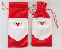 Wholesale Red Wine Bottle Cover Bags Christmas Dinner Table Decoration Home Party Decors Santa Claus Christmas decorations