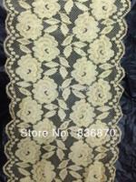 Cheap 17.5 cm width 50yds Yellow elegant elastic stretch double floral lace fabric sewing trim DIY craft wedding doll dress headband