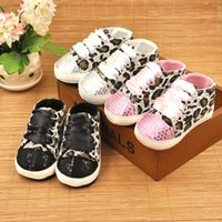 Wholesale Baby Shoes Girls baby Cack Leopard first walker kids prewalker shoes girls bowtie toddler shoes Paillette Lace up CuteKids