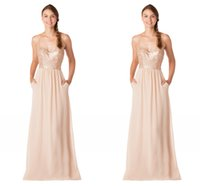 amazing peach - Peach Amazing Bridesmaid Dresses With Pockets Spaghetti straps Chiffon Sequined Long Prom Wedding Guest Dress Evening Wear Gowns