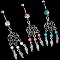 belly bars dangle - 2016 newest Dream Catcher Navel ring bead Dangle Belly Barbell Button Bar Ring Body piercing