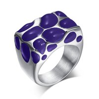 Wholesale Fashion Black enamel rings for women stainless steel wedding ring jewelry unique charm accessories