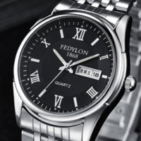 ¡Mejor calidad! 3 colores cuarzo Hombre de acero del reloj de manera impermeable resistente a los arañazos calendario Hombres Doble pulsera casuales F470