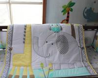 Wholesale 2016 Cotton Embroidery Owl Elephant Giraffe Baby Bedding Set Quilt Bumper Skirt Mattress Cover Crib Bedding Set