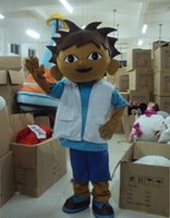 Wholesale Adult Size Dora the Explorer Boy Diego Mascot Costume Fancy Dress Halloween Adult including head body suit gloves