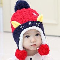 Wholesale Lovely kids winter windproof hats for kids crochet headgear soft warm hat baby winter Crochet Hat for month kids