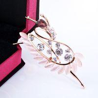 ballerina brooch - Christmas gift rhinestone brooches Ballerine Ballerina Opal with Crystal diamond Alloy Elegant Corsage Brooch jewelry Pins For Women Gift