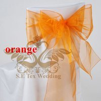used chair covers for sale - Hot Sale Orange Color Organza Chair Sash Chair Bow Used For Banquet Wedding Chair Cover