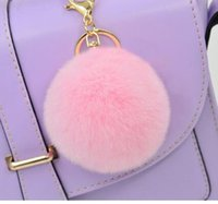 Cell phone accessories for car Baratos-Soft bola de piel de conejo Bola Pom Poms llavero de peluche Car Keyring bolso de bolsillo Pendientes de bolsillo encanto teléfono celular Decoraciones Nuevos accesorios