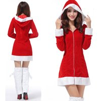 Wholesale 2016 Women New Christmas Festival Halloween Party Cosplay Costumes Sexy Red Christmas Role Santa Clause Costumes for Adults Girl