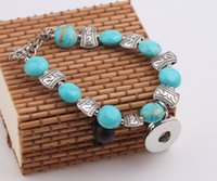 antique amethyst jewelry - Antique silver plated turquosie beads stone leather DIY interchangeable mm snap bracelet jewelry for women diy making