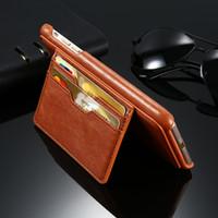 achat en gros de wallet case-Étui de portefeuille pour iPhone 7/6 / 6s / plus étui en cuir de luxe vintage rétro portefeuille avec support titulaire et fentes pour cartes sur le dos