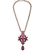 antique ruby necklace - Retro Red Crystal Pendant Necklace Long Character Ruby Necklace Fashion Jewelry for Women with Antique Gold Link Chain