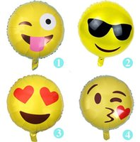 Wholesale 2016 Cute QQ Emoji Smiley Mylar Balloons for Wedding Decorations Or Opening Ceremony inch Birthday Party Foil Balloon