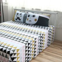 Wholesale Cotton Bed Linen Geometric Sheet Sets Custom Size Cotton Flat Sheet Queen Fitted Sheet Twin Case Bedding Sets