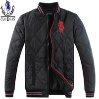 Wholesale Fall men s winter tee wadded jacket casual sprots coat mens winter horse baseball down cotton padded jacket outerwear
