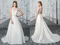 Discount jeweled bodice wedding - Fashion Sheer Neck Wedding Dresses 2017 Hollow Back Jeweled Neckline Satin A line Long New Cheap Wedding Bridal Dress Gown Custom