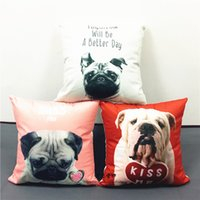 adult english bulldog - Cute Bulldog Pug Dog Cushion Cover English Letters Miss You Kiss Me Tomorrow A Better Day Cushions Pillows Covers Sofa Soft Pillow Case