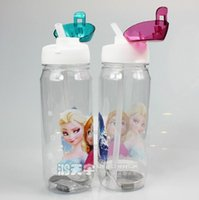 Wholesale Children Cup Cartoon Frozen Elsa Anna PP Suction Cup with drinking straw water bottle