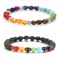 balance beads - 2016 New Natural Black Lava Stone Bracelets Reiki Chakra Healing Balance Beads Bracelet for Men Women Stretch Yoga Jewelry