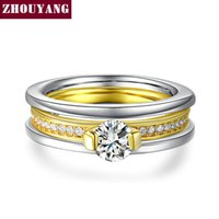 aniversary gifts - 18K White Gold Yellow Gold Plated AAA Round CZ Diamond Bijoux Rings Fashion Wedding For Women Aniversary Gift ZYR637 ZYR636