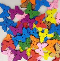 Wholesale 2 Holes Mixed Butterfly Multicolor Wooden Buttons Sewing Scrapbooking Handmade Wooden Diy Model Wh