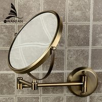 bathroom extending mirror - 8 quot Double Side Bathroom Folding Brass Shave Makeup Mirror Antique bronze Wall Mounted Extend with Dual Arm x3x Magnifying F
