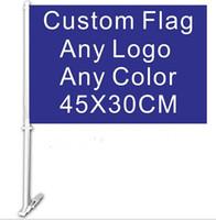 flag pole - 30x45CM car window flag custom flag any color any LOGO quality polyester with flag pole