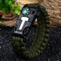 Wholesale Survival Bracelet Whistle Buckles - 2016 Fashion Survival Bracelet Flint Fire Starter Gear Escape Paracord Whistle Cord Buckle Camping Bracelets Rescue Rope Travel Kits