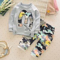 Cheap Hug Me Boys Outfits and 2 Sets Babys, Kids Clothes 2016 New Autumn Shirt and camouflage Pants Fashion 2 Pieces Set AA-624