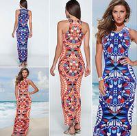 american digital - SUMMER Hot Ladies European And American Fashion Dress Bohemian Beach Dress Slim Digital Printing Blue And Orange High Version