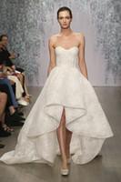 Wholesale Cheap Front Short and Long Back Lace Wedding Dress Corset Bodice Sweetheart A Line Sleeveless Applique Court Train Monique Lhuillier
