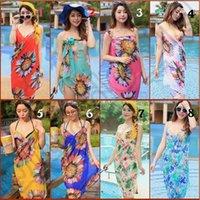 Wholesale JJA48 Women Wrap Beach Smock Chiffon Bikini Cover Up Sarong Butterfly Zebra Stripe Floral Print Braces Skirt Swimwear Beachwear