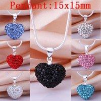 Wholesale Pingente Alien silver plated Jewelry Romantic Women Slide Crystal Heart necklace