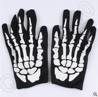 Wholesale Hallowen Performance Dancing Skeleton Gloves Devil Skull Gloves Punk Pure Black Sex Finger Against Uv Short Dancing Gloves CCA5083 pair