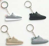 Wholesale Cute Silicone Yeezy Boost Keychain Sneaker Key Chain Kids Key Rings Key Holder Llaveros Chaveiro Porte Clef