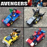 Wholesale 4pcs set Marvel Minifigures Batman Superman Spiderman Action Figures Toys Plastic Building Blocks Compatible with Lego