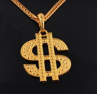 african dollars - Hip Hop Jewelry K Gold Plated Chains Dollar Pendant Necklace for Men