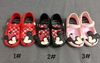 Wholesale 13 cm mini melissa style Mickey Minnie kids toddler baby footwear little girls crystal jelly shoes children beach Sandals ZA0160