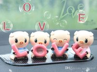 Wholesale Car Interior Decorations Ornament MINI LOVE pig doll set gadget Resin craftwork Car furnishing articles Accessories T100030