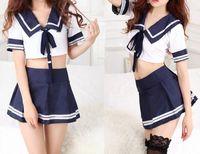 Wholesale 1 Set Pieces Sailor Suit Uniform Costume Mini Clubwear Skirt Party Cosplay Suit Baby Doll