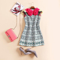 auger s - Europe and the United States women s new autumn The runway looks heavy sapphire set auger vest dress roses
