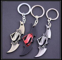 Wholesale 2016 Fashion Color Marvel Comics Retro Superman vs Batman Logo Keychain Trendy Alloy Keyring For Women and Men YSK